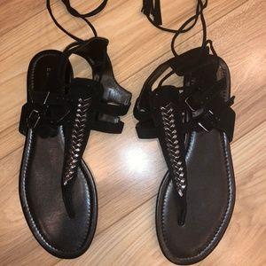 Express Sandals Silver Decor Clasp/Tie Size 10 BLK